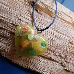 Lime green fruit necklace